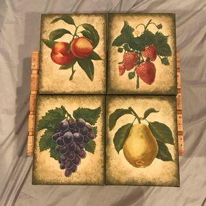 Canvas Fruit Prints Set Of Four